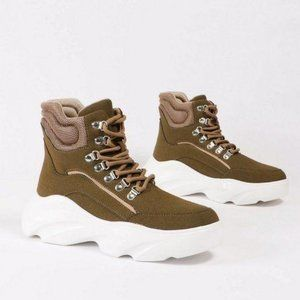 Platform Lace Up Sneakers in Khaki